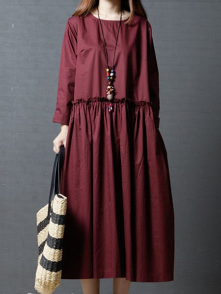 Long Sleeve Solid A-line Simple Cotton Dress