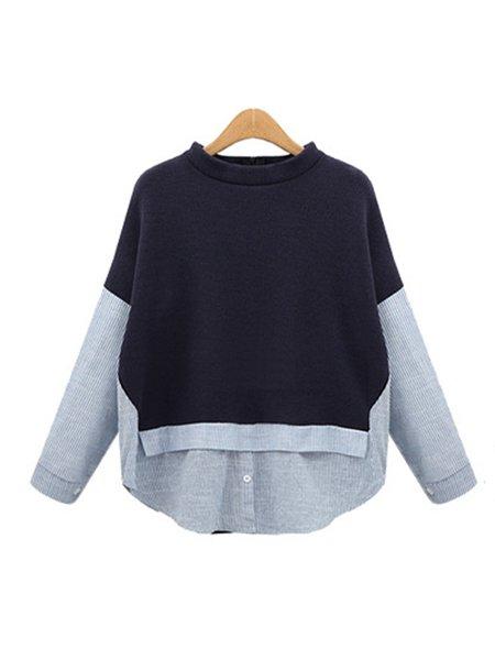 Long Sleeve Cotton-blend Simple Paneled T-Shirt