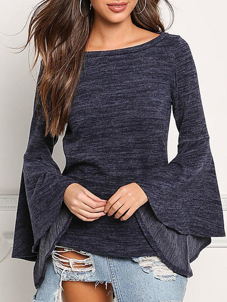 Deep Gray Bell Sleeve Cotton-blend Crew Neck T-Shirt