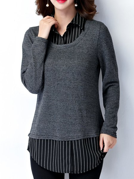 Simple Solid Paneled Long Sleeve T-Shirt