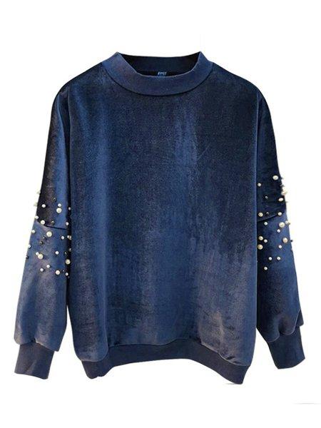 Cotton-blend Long Sleeve Beaded Simple Solid Sweatshirt