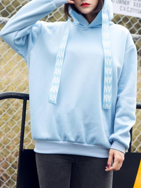 Cotton-blend Simple Solid Hoodie