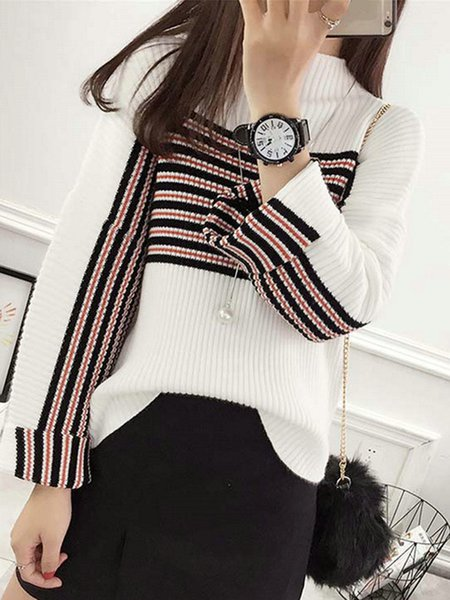 Stripes Simple Long Sleeve Knitted Sweater