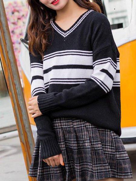 Long Sleeve V Neck Simple Stripes Sweater