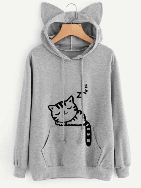 Long Sleeve Cat Printed Hoodie