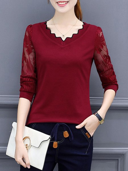 Solid Long Sleeve Paneled Simple T-Shirt