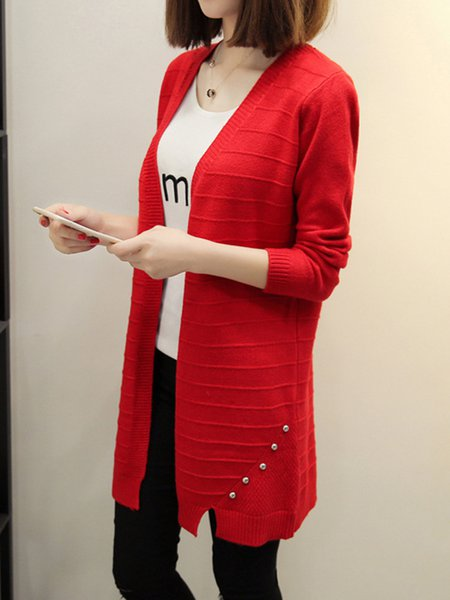 Simple Knitted Cotton-blend Solid Cardigan