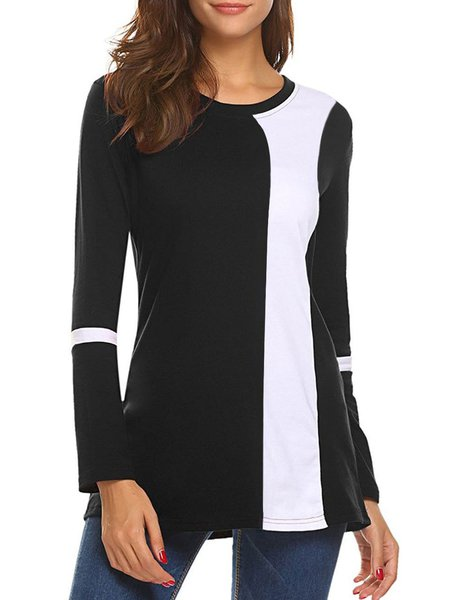 Black Long Sleeve Paneled Solid T-Shirt