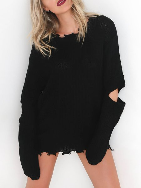 Knitted Simple Crew Neck Cotton-blend Sweater