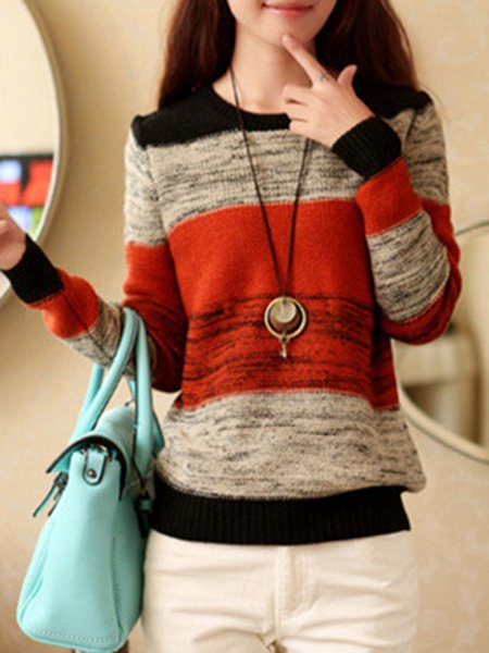 Simple Stripes Knitted Knitted Sweater