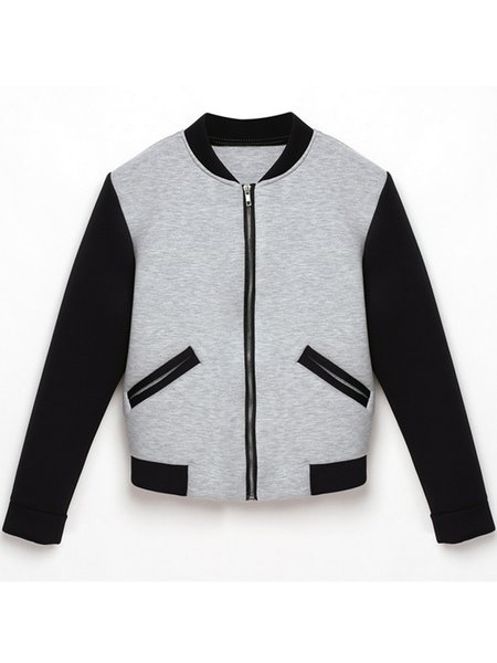 Cotton-blend Simple Long Sleeve Zipper Jacket