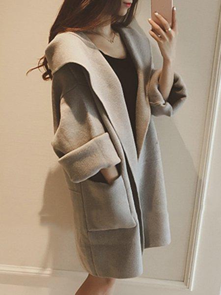 Hoodie Long Sleeve Cotton-blend Solid Coat