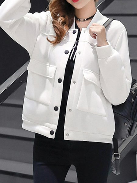 Solid Buttoned Long Sleeve Cotton-blend Jacket