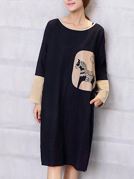 Black Simple Printed Dress