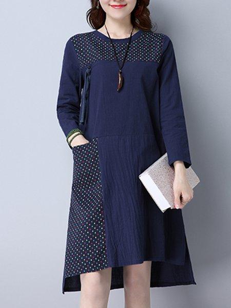 Navy Blue Paneled High Low Vintage Dress