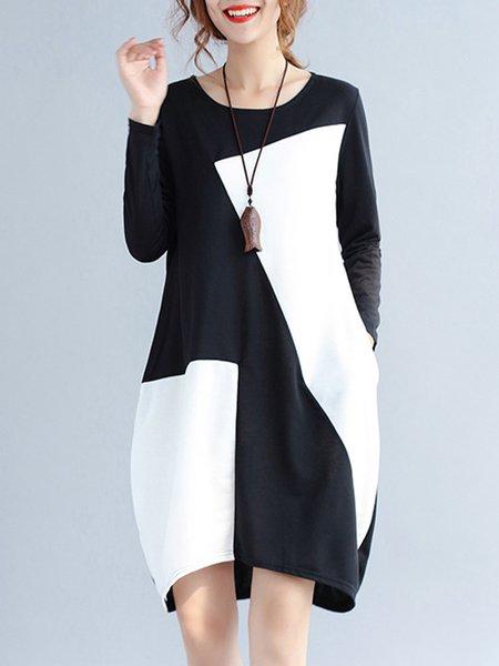 Long Sleeve Simple Cotton Crew Neck Dress