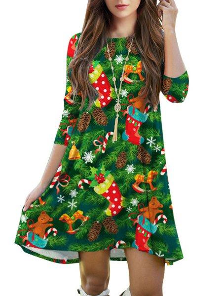 Green Casual Printed Christmas Dress