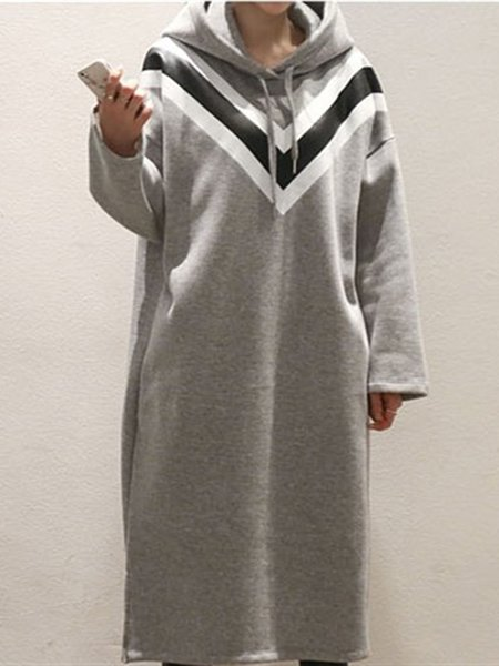 Casual Long Sleeve Slit Cotton Dress