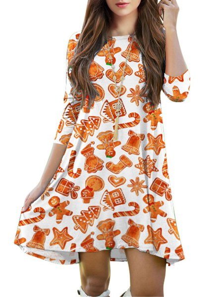 Orange Crew Neck Casual Christmas Dress
