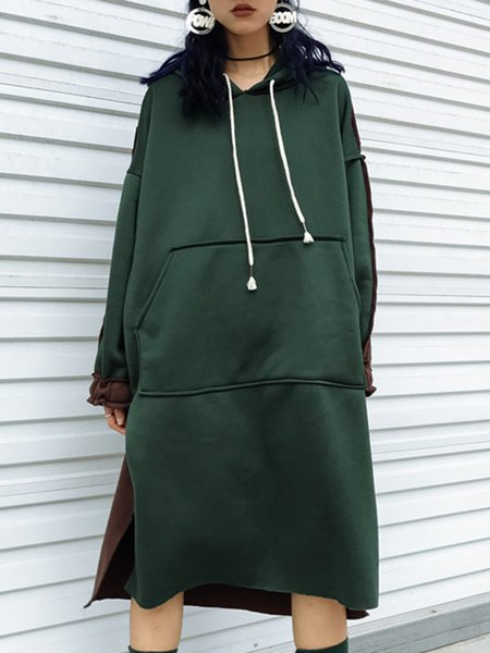 Women Casual Dress Hoodie High Low Daytime Long Sleeve Paneled Dress