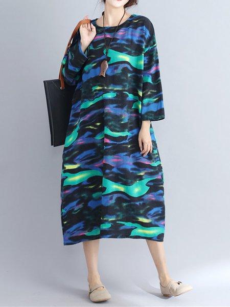 Printed Long Sleeve Casual Dress