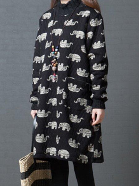Black Animal Turtleneck Casual Dress
