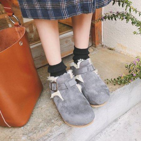 Fur Lined Buckle Platform Slip On Suede Boots