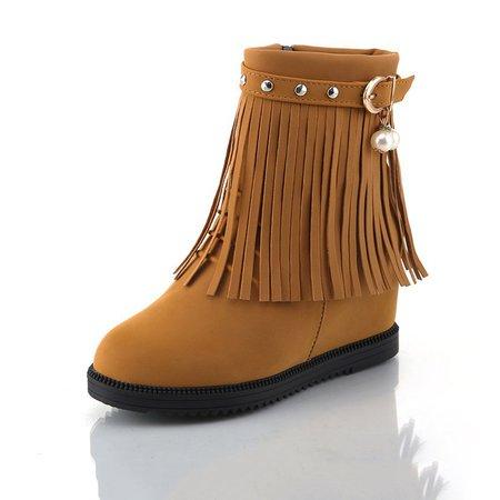 Fringed Wedge Heel Buckle Pearls Zipper Boots