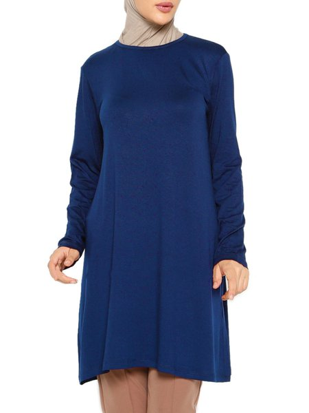 Crew Neck Simple Solid Cotton-blend Tunic Top