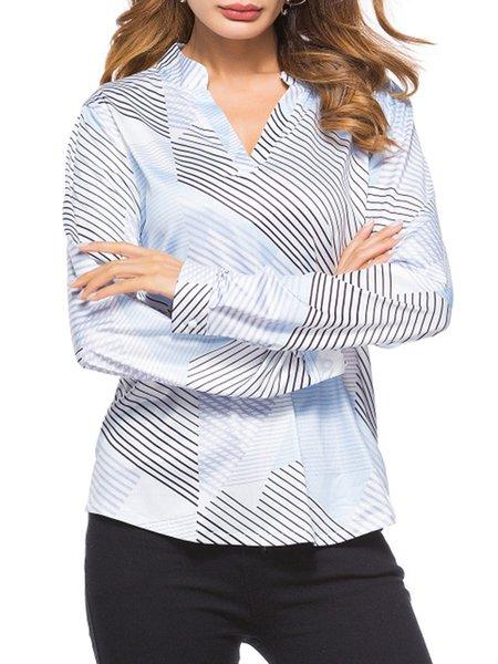 Long Sleeve Cotton-blend Geometric Blouse