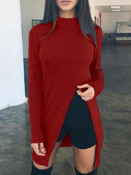 Simple Long Sleeve Stand Collar Solid Cotton-blend Sweater