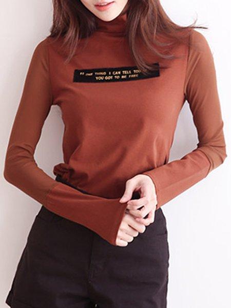 Solid Simple Cotton-blend Long Sleeve Turtleneck T-Shirt
