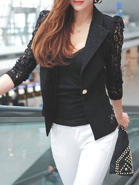 Black Casual Cotton-blend Lapel Shirts & Blouse