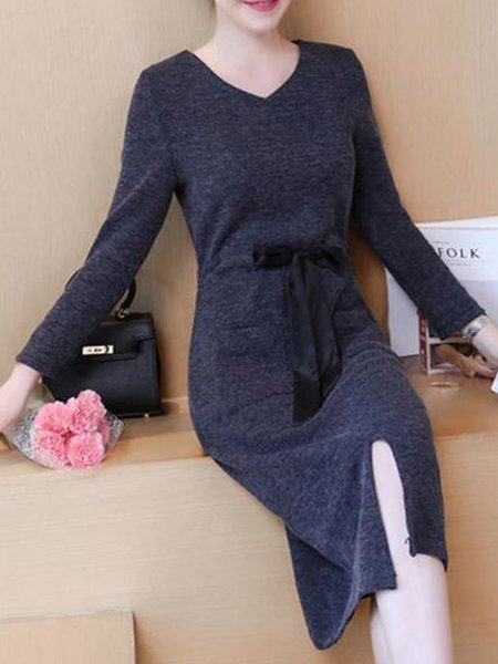 Gray Knitted Casual V Neck Dress