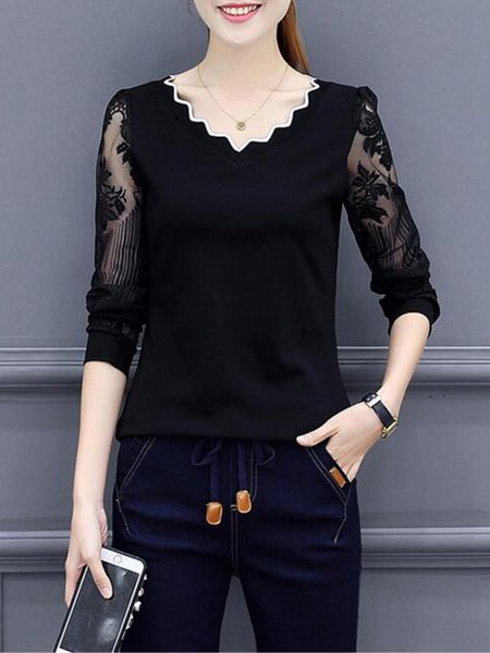 Black V Neck Floral-print Cotton-blend Casual T-Shirt