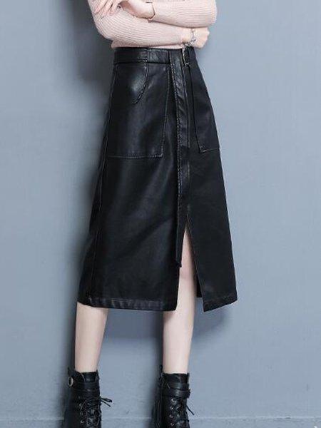 Black Casual PU Dress