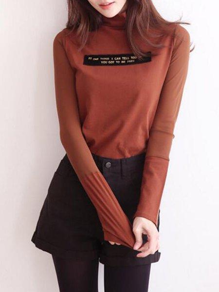 Turtleneck Cotton-blend Casual T-Shirt