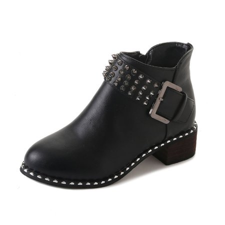 Rivets Buckle Chunky Heel Outdoor Zipper Boots