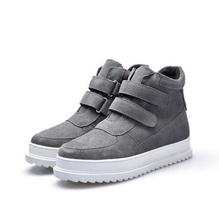 Split Leather Magic Tape Platform Boots