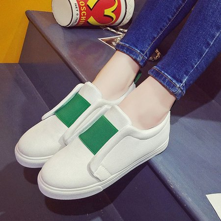 Color Block Outdoor Canvas Slip On Sneakers