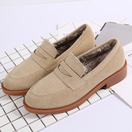 Fur Lined Casual Platform Suede Slip On Loafers