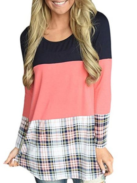 Long Sleeve Checkered/Plaid Simple Tunic Top