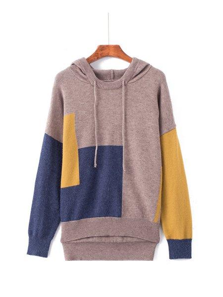 Long Sleeve Solid Paneled Simple Knitted  Hoodie