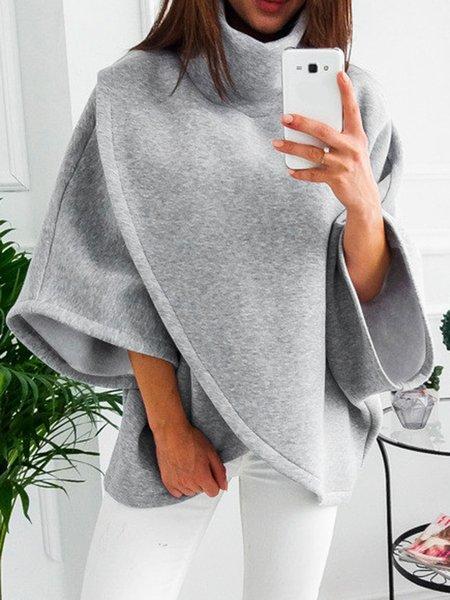 Cotton-blend Printed Casual Batwing Sweatshirt