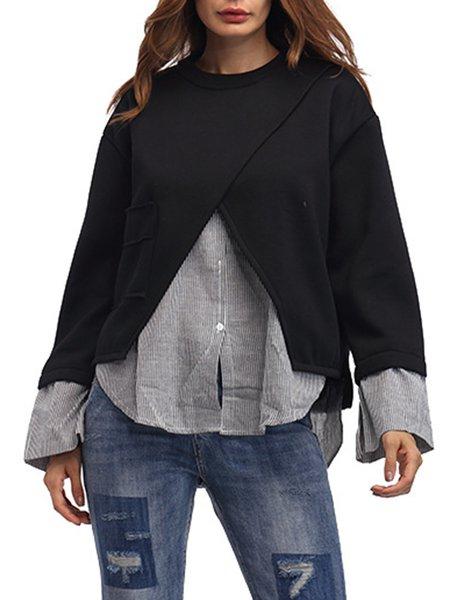 Long Sleeve Simple Paneled Solid Polyester Sweatshirt