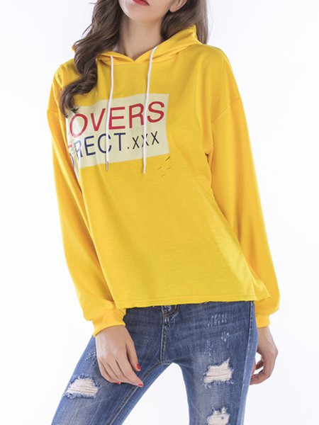 Yellow Long Sleeve Letter Printed Cotton-blend Hoodie