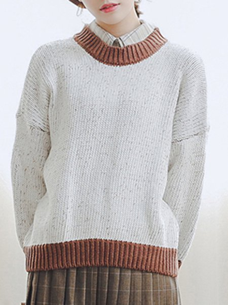 Solid Long Sleeve Simple Crew Neck Sweater