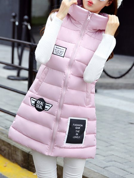 Sleeveless Cotton-blend Zipper Hoodie Vest