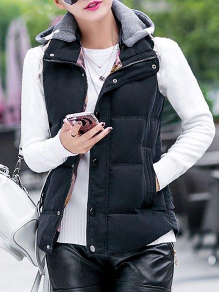 Hoodie Simple Solid Cotton-blend Vest