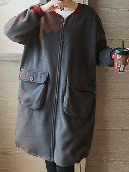 Deep Gray Simple Cotton-blend Solid Coat